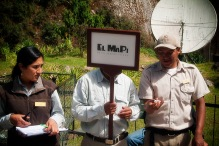 At the base of Machu Picchu, tour guides have their antenna poised for their next batch of visitors.