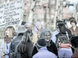 "My friends Dave and Rose have this sign: ""When the last tree has died, the last river been poisoned, the last fish been caught, will we realize we cannot eat money,"" -nuff said."