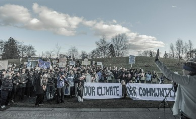 Several hundred Comox Valley protestors rally against big oil and anti-green interests.