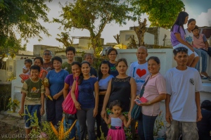 My Philippine family poses near the tomb their lost loved ones.