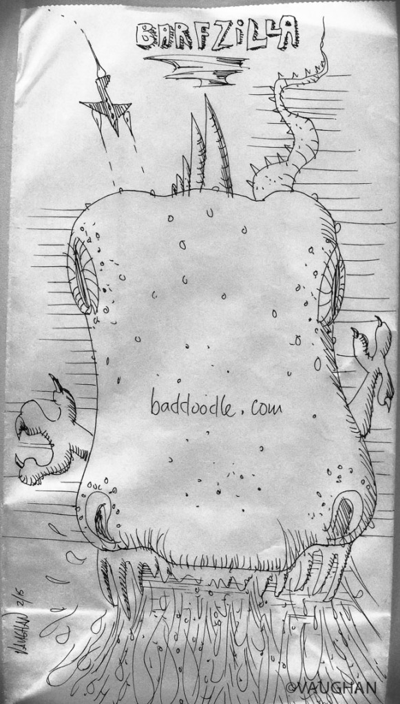 A nervous doodle on the seat pocket vomit bag–born out of one rocky, annoying flight to Hawaii.