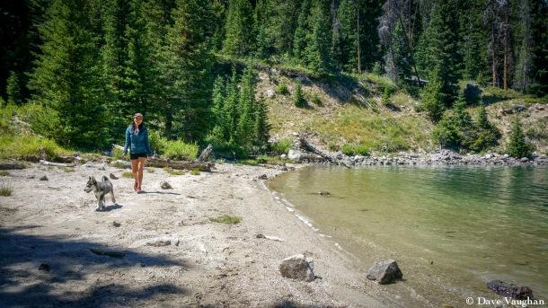 Maritess and Shadow at Green River Lake, WY.